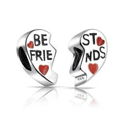 Bling Jewelry Sterling Silver Red Heart Charm Best Friends Bead Set. BFF Best Friends Red Enamel Split Hearts Bead Set. Material: .925 Sterling Silver, Enamel Measure: Each Half Measures 11 mm L X 6 mm W, 5 mm Bead core Weight: Total Weight 2.8 Grams. Compatible with Pandora Charms, Biagi, Troll, Chamilia, European Style, Persona, Ohm, Kay's Charmed Memories and More. Fits both necklace and bracelet 3mm or smaller. The Unthreaded Hole Size is about 4.8mm-5mm. Free elegant black velvet…
