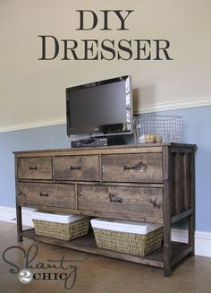 Pottery Barn Inspired DIY Dresser : DIY dresser/tv stand - love this, a bit too rustic for my style, but with a darker wood stain it would work fabulously! Dresser With Tv, Dresser Tv Stand, Dresser Ideas, Diy Dresser Plans, Diy Dressers, Dresser Top, Furniture Projects, Home Projects, Home Furniture