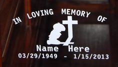In Loving Memory BOY Kneeling Cross Vinyl Decal Window Sticker Set of 2