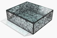 """Arktura Nebula Coffee Largest size custom is 32"""" square. painted steel in standard black or white. glass included"""