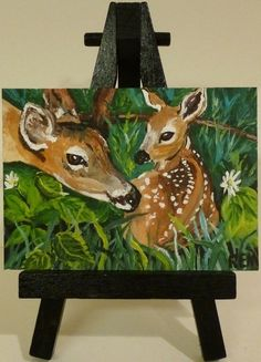 ACEO SPRING2015 CONTEST ORIGINAL PANTING MOTHER FAWN DEER SIGNED BY ARTIST REM #Miniature