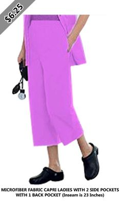 MICROFIBER FABRIC CAPRI LADIES WITH 2 SIDE POCKETS WITH 1 BACK POCKET (Inseam is 23 Inches) Scrubs, Capri, Pockets, Lady, Pants, Fashion, Trouser Pants, Moda, Fashion Styles