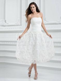 Brocado marfim Organza Strapless chá comprimento vestido de noiva - Milanoo.com