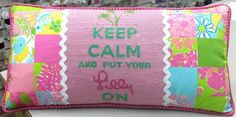 Keep Calm & Put Your Lilly On, designed by Kate Dickerson, stitched by Dana Dickenson & finished by The Needlepointer, Everett, WA