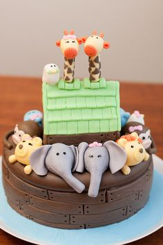 Noah's Ark Birthday - Our Family Unit Noahs Ark Cake, Noahs Ark Party, Noahs Ark Theme, Baby Shower Cakes, Baby Shower Themes, Baby Birthday, Birthday Cake, Birthday Ideas, Cute Cakes