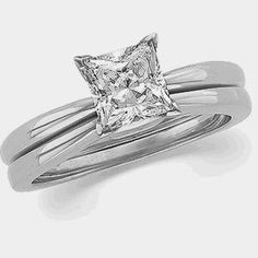 Moissanite Wedding Set Square Princess Cut 1.7 Ct