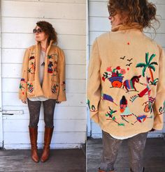 Vintage Embroidered Peruvian Jacket  Warm Wool by LaDeaDeiSogni, $148.00