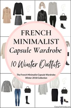 Create a Winter French Minimalist capsule wardrobe on a budget! This post is a preview of the new e-Book, The French Minimalist Capsule Wardrobe: Winter 2018 Collection. I'm sharing a few pieces in the capsule wardrobe that you can mix and match, to create several outfits for your closet, like a cardigan, tee, shirt, skirt, jeans, leggings, coat, sweater, scarf, boots, flats and pumps.