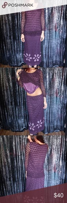 Purple Floral Crochet Long Sleeve Top & Skirt PRE LOVED in great condition burgundy plum crochet 2 piece long sleeve top and skirt matching set size small such a great boho bohemian vibe. Coachella anyone? Bandolino Dresses Long Sleeve