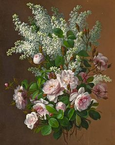 Paul de Longpré  'Still life with roses and lilacs' c. 1900 by Plum leaves,
