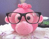 Pink gal crochet eye glass holder