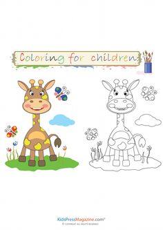 Baby Giraffe Coloring Sheet | KidsPressMagazine.com #giraffe coloring page, #coloring page,#clip art, #printable