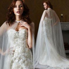 Noble White/Ivory Appliques Beading Tulle Wedding Cloak Cape Bridal Wrap Custom #Shawls