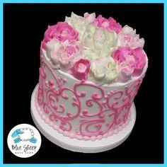 pink and white buttercream birthday cake