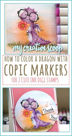 How to Color a Dragon using Copic Markers is part of DIY Book Art Markers - How to Color a Dragon using Copic Markers Check out my step by step tutorial on coloring a purple dragon using your Copics and Ink Stamps Copic Marker Art, Copic Pens, Copic Sketch Markers, Copics, Copic Art, Color Of The Day, To Color, Copic Markers Tutorial, Copic Drawings