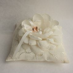 Ivory Wedding pillow with  flower wedding rings pillow  by tijusai, $29.00