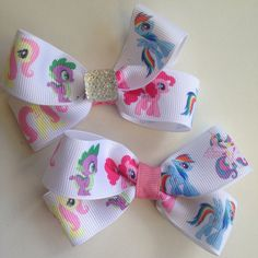 My Little Pony Hairbow with Bling - available on a clip or thick no tug elastic tie! on Etsy, $4.35