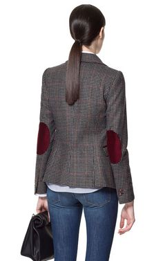 CHECKED BLAZER WITH ELBOW PATCHES