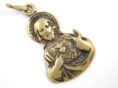 Vintage Sacred Heart of Jesus Catholic Medal - Religious Charm - Christian Jesus Medallion  by LuxMeaChristus