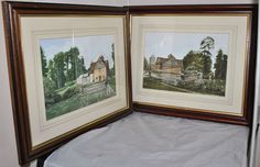 2 Framed Original Watercolour Paintings of Old Country Buildings Monogramed T.C.