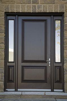 sleek black modern door, but still feels vaguely traditional. Main Door Design, Front Door Design, Front Door Colors, Front Door Decor, Custom Wood Doors, Wooden Doors, Front Door Images, Best Front Doors, House Design Pictures