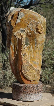 """""""Arizona Landscape"""", Onyx, Granite, 36""""x16""""x12"""".    Quarried in Arizona, this onyx stone reflects the vivid colors of the desert landscape.  Like the landscape, the stone can be rough textured, or worn smooth by the elements. www.thesculpturestudio.com Outdoor Sculpture, Stone Sculpture, Garden Sculpture, Desert Landscape, Abstract Sculpture, Granite, Vivid Colors, Arizona, Sculptures"""