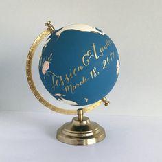 Globe peint livre dor de mariage personnalisé décoration