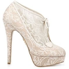 Charlotte Olympia - Minerva - Runaway Bride ($1,190) ❤ liked on Polyvore featuring shoes, boots, ankle booties, heels, sapatos, high heels, leather ankle boots, leather booties, high heel booties and lace up platform booties