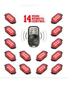 XK Glow 14 Pod Single Color Remote Control Motorcycle Engine & Ground LED Light Kit