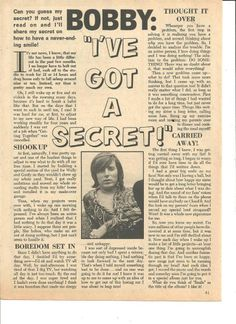 Bobby Sherman, Full Page Vintage Clipping