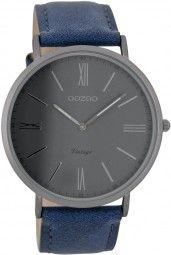 Oozoo Ultra Slim Vintage Herrenuhr C7703 - blau/dunkelgrau - 44 mm - Lederband