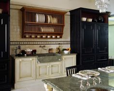 Black, white, stained cabinets
