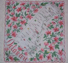 Delaware state map + pink peach blossom flowers [handkerchief / scarf]