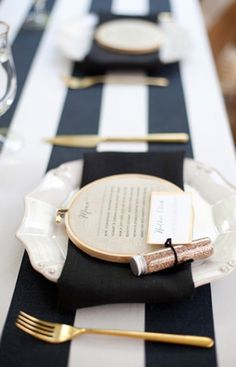 Stripes, Gold and Blush make for an elegant table setting!