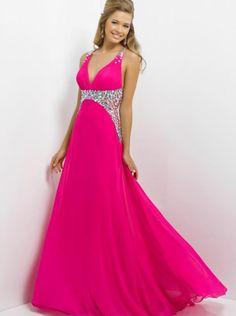 V-neck Hot Pink Formal Dress Evening Dress/Prom Dress 9708