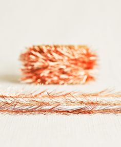 Tinsel Twine in Copper & Cream  6 Yards  by thatchandthistleco