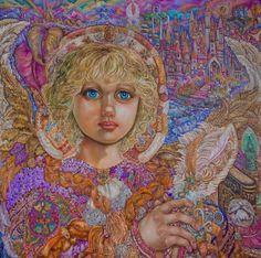 Painting entitled 'Archangel Metatron' by Yumi Sugai