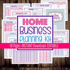 Home Business Planner-Printable Home Business, Etsy Business Planner, Work at Home Organization-18 Documents-INSTANT DOWNLOAD & EDITABLE
