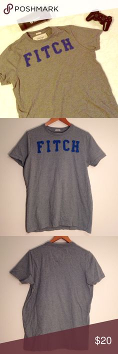 """🆕 ABERCROMBIE & FITCH Gray Logo Graphic Tee Classic muscle cut crewneck tee with blue """"FITCH"""" logo applique.  ▪REASONABLE OFFERS WELCOMED or BUNDLE FOR 15% OFF!▪️ Abercrombie & Fitch Shirts Tees - Short Sleeve"""