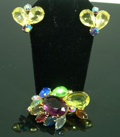 Unsigned Juliana Fruit Salad Brooch and Earring Set