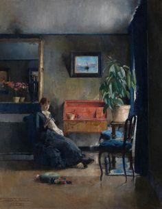 Harriet Backer (Norwegian, 1845-1932), Blue Interior, 1883. Oil on canvas, 84 x 66 cm. source