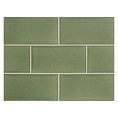 "Complete Tile Collection Vermeere Ceramic Tile - Newport Green - Gloss, 3"" x 6"" Manhattan Ceramic Subway Tile, MI#: 199-C1-312-281, Color: Newport Green"