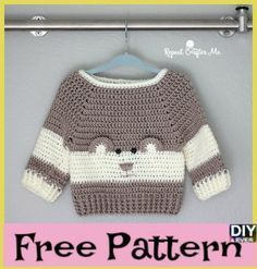 "It's so ""Beary"" Cute! This Baby Bear Crochet Character Sweater is hot off. - - It's so ""Beary"" Cute! This Baby Bear Crochet Character Sweater is hot off my hook! I couldn't resist the cuteness when I spotted this crochet pattern. Crochet Baby Sweater Pattern, Baby Sweater Patterns, Baby Knitting Patterns, Baby Patterns, Free Knitting, Crochet Patterns, Crochet Baby Clothes Boy, Crochet For Boys, Crochet Bear"