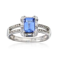 C. 1990 Vintage 1.25 Carat Tanzanite and .65 ct. t.w. Diamond Ring in 14kt White Gold. Size 7