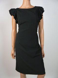 $130 Ann Taylor Black Tiered Ruffle Shoulder Cocktail Sheath Dress Size 6