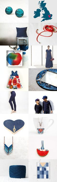 Dark blue and red kisses by Kamila on Etsy--Pinned with TreasuryPin.com