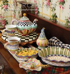 MacKenzie-Childs Pottery ~ Love the play of patterns and colors in this beautiful, whimsical pottery.