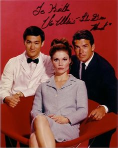 Photo of Bruce Lee, Wende Wagner and Van Williams in their roles in the Green Hornet TV series of the late 1960s. Photo was signed in person for me by Van Williams. Wende Wagner died of cancer in 1997.