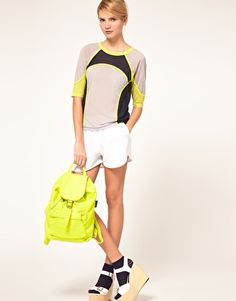 ASOS Top with Airtex and Color Block- matching neon accessories adds exta oomph.