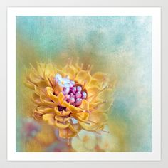 VARIE SQUARE - Floral and painterly texture work Art Print by  VIAINA - $19.99